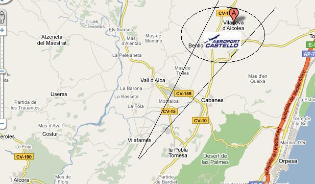 CObertura y localizacion aeropuerto de Castellón